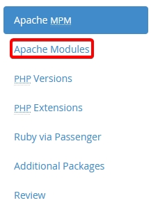 Apache Modules Menu